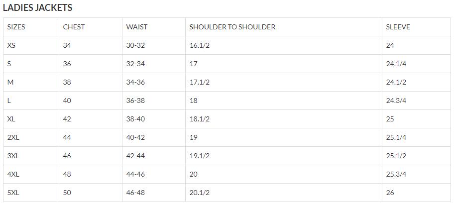 Size chart for Women's Classic Biker Brown Leather Jacket - SKU AL2115-AL